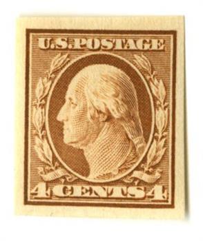 1909 4c Washington, orange brown, double line watermark, imperforate
