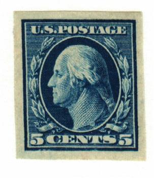 1909 5c Washington, blue, double line watermark, imperforate