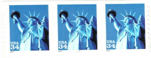 2001 34c Statue of Liberty, coil, square corners
