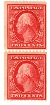 1909 2c Washington, carmine, double line watermark