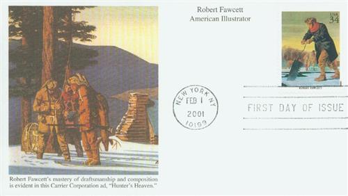 2001 34c American Illustrator Robert Fawcett