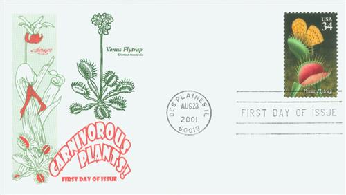 2001 34c Carnivorous Plants: Venus Flytrap for sale at Mystic Stamp