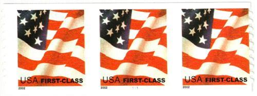 2002 37c Flag, non-denominated coil stamp