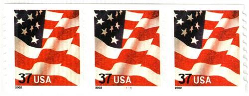 2002 37c Flag, coil, 9 3/4 vertical perf