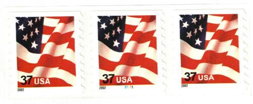 2002 37c Flag, 8 1/2 vertical perf