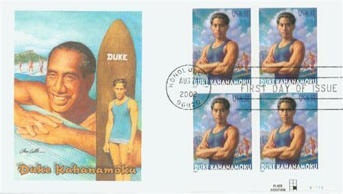 2002 37¢ Duke Kahanamoku Fleetwood Plate Block First Day Cover