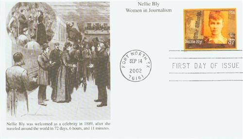 U.S. #3665 FDC pictures Bly at her homecoming ceremony following her around-the-world trip.