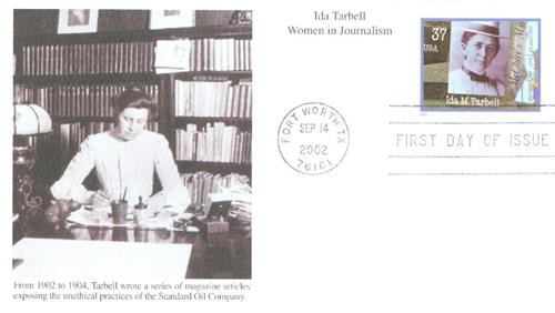 U.S. #3666 FDC – First Day Cover picturing Tarbell at her desk.