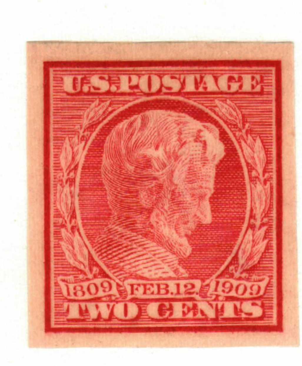 1909 2c Lincoln, carmine, imperforate