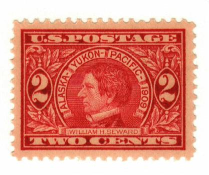 1909 2c Seward, carmine, perf 12