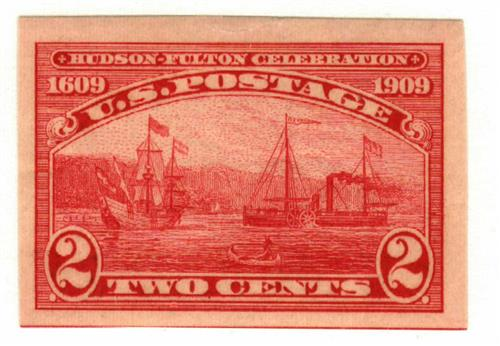 1909 2c Hudson-Fulton Celebration: Half Moon and Clermont, imperforate