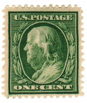 1910 1c Franklin perf 12 green