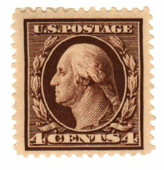 1911 4c Washington, brown, single line watermark, perf 12