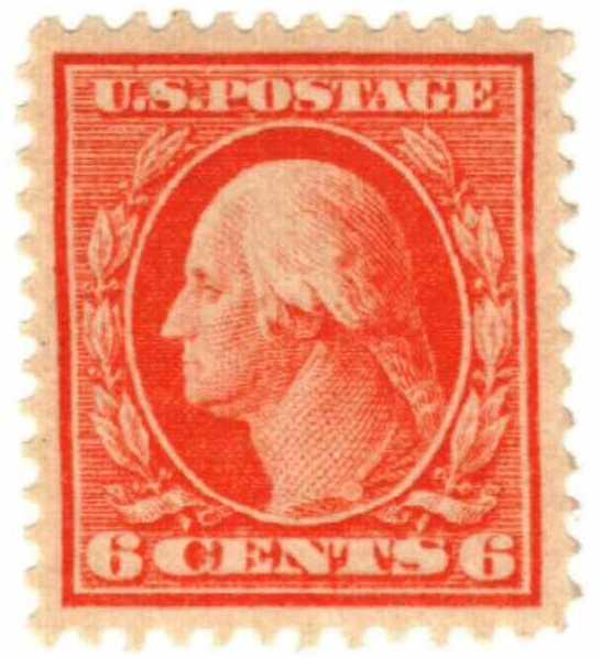 1911 6c Washington, red orange, single line watermark
