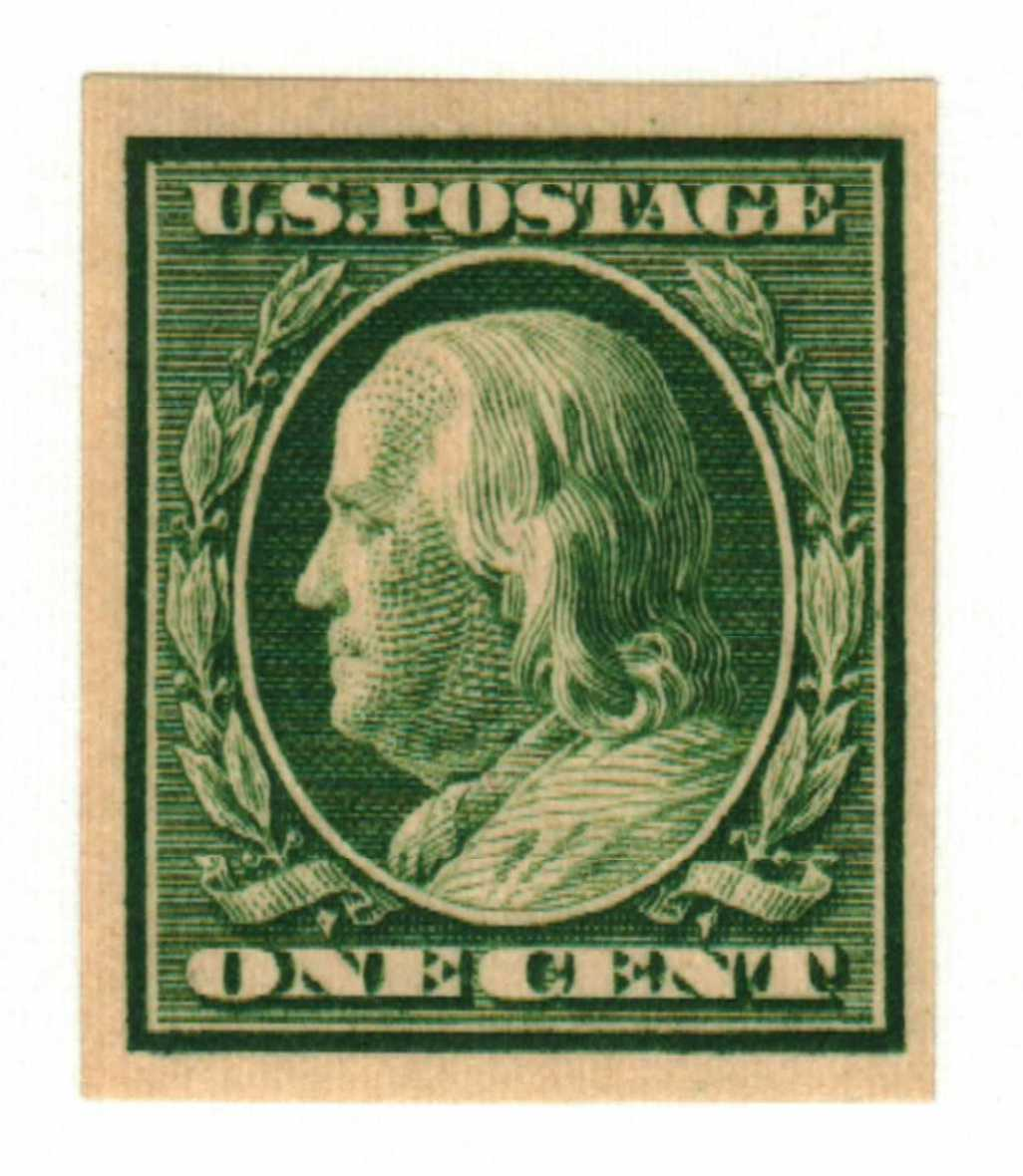 1910 1c Franklin, green, single line watermark, imperforate