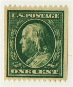 1910 1c Franklin, coil, green, single line watermark