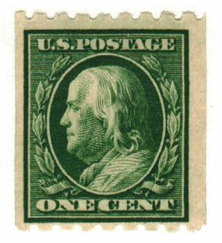 1910 1c Franklin, green, perf 8.5 horizontal