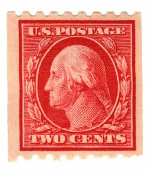 1910 2c Washington, carmine, perf 8.5 horizontal