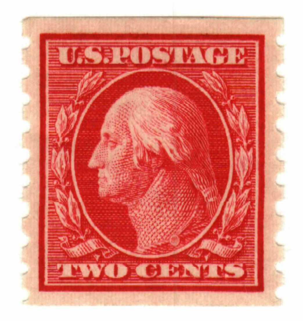 1910 2c Washington, carmine, perf 8.5 vertical
