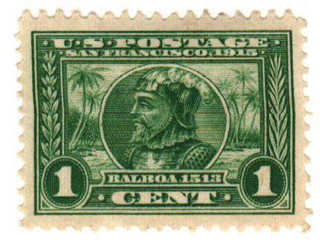 1913 1c Panama-Pacific Exposition: Balboa, green, perf 12