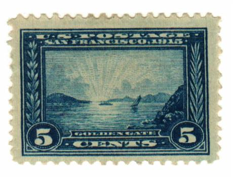 1913 5c Panama-Pacific Exposition: Golden Gate, blue, perf 12