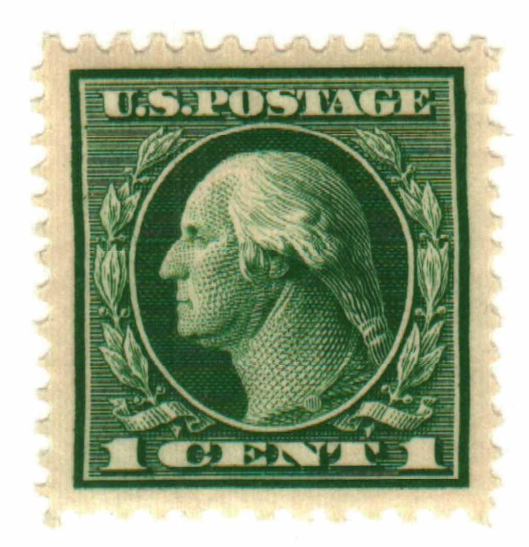 1912 1c Washington, green, single line watermark