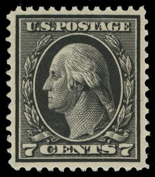 1914 7c Washington Single Line Watermark, Perf 12, black
