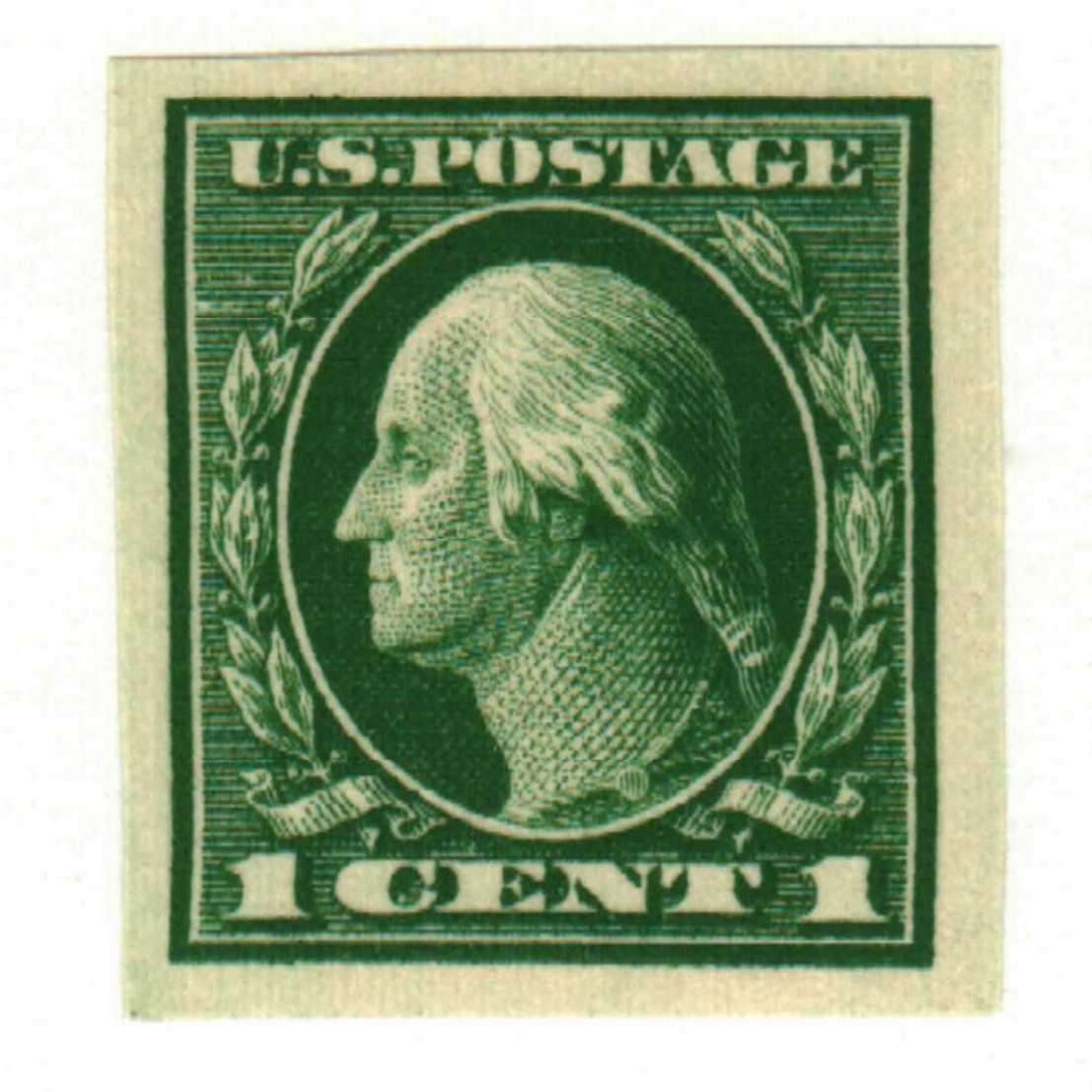 1912 1c Washington, green, single line watermark, imperforate
