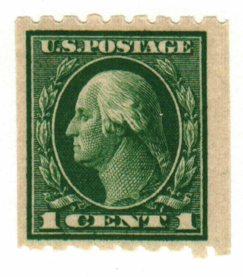 1912 1c Washington, coil, green, single watermark
