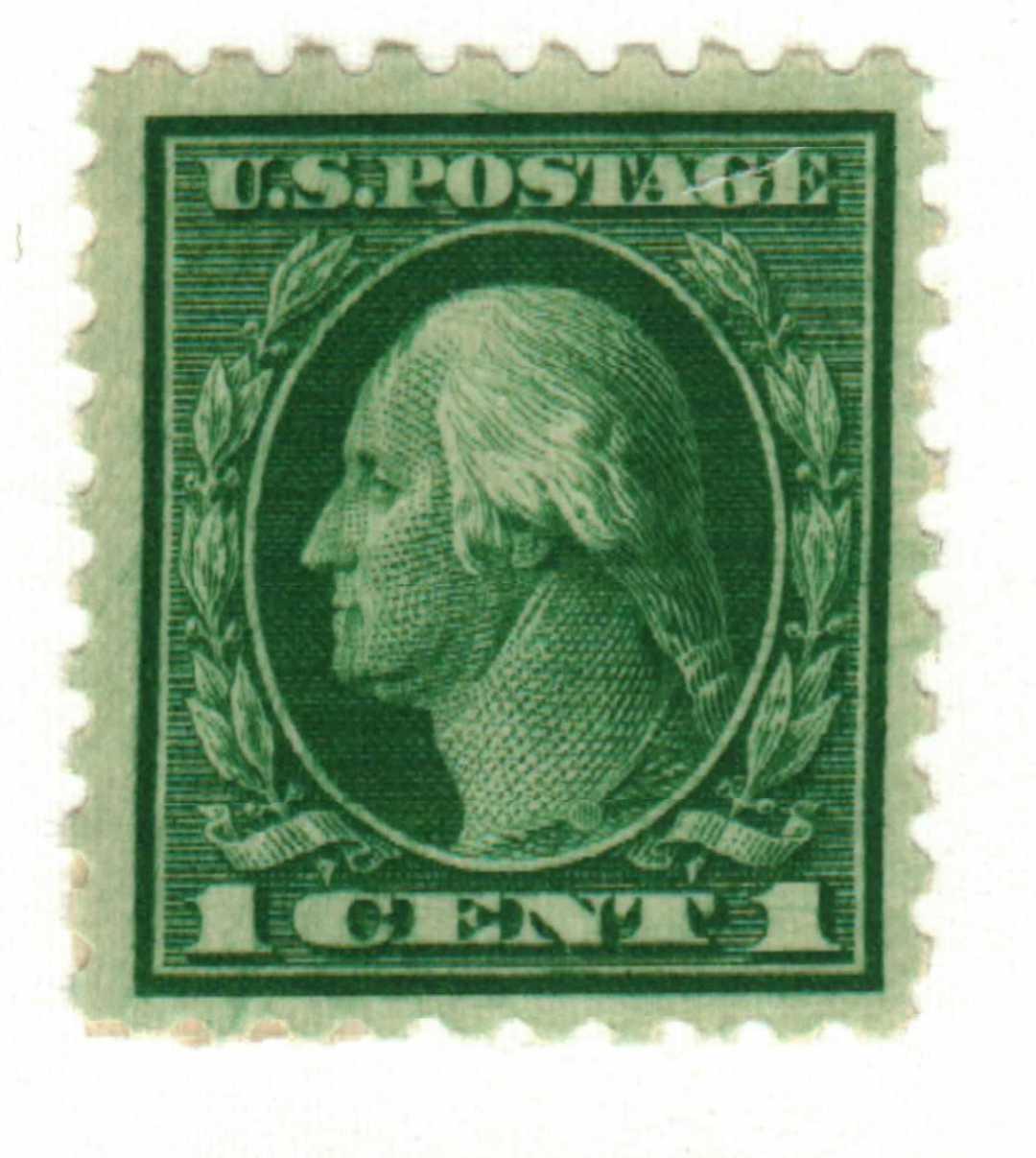 1914 1c Washington Single Line Watermark, green