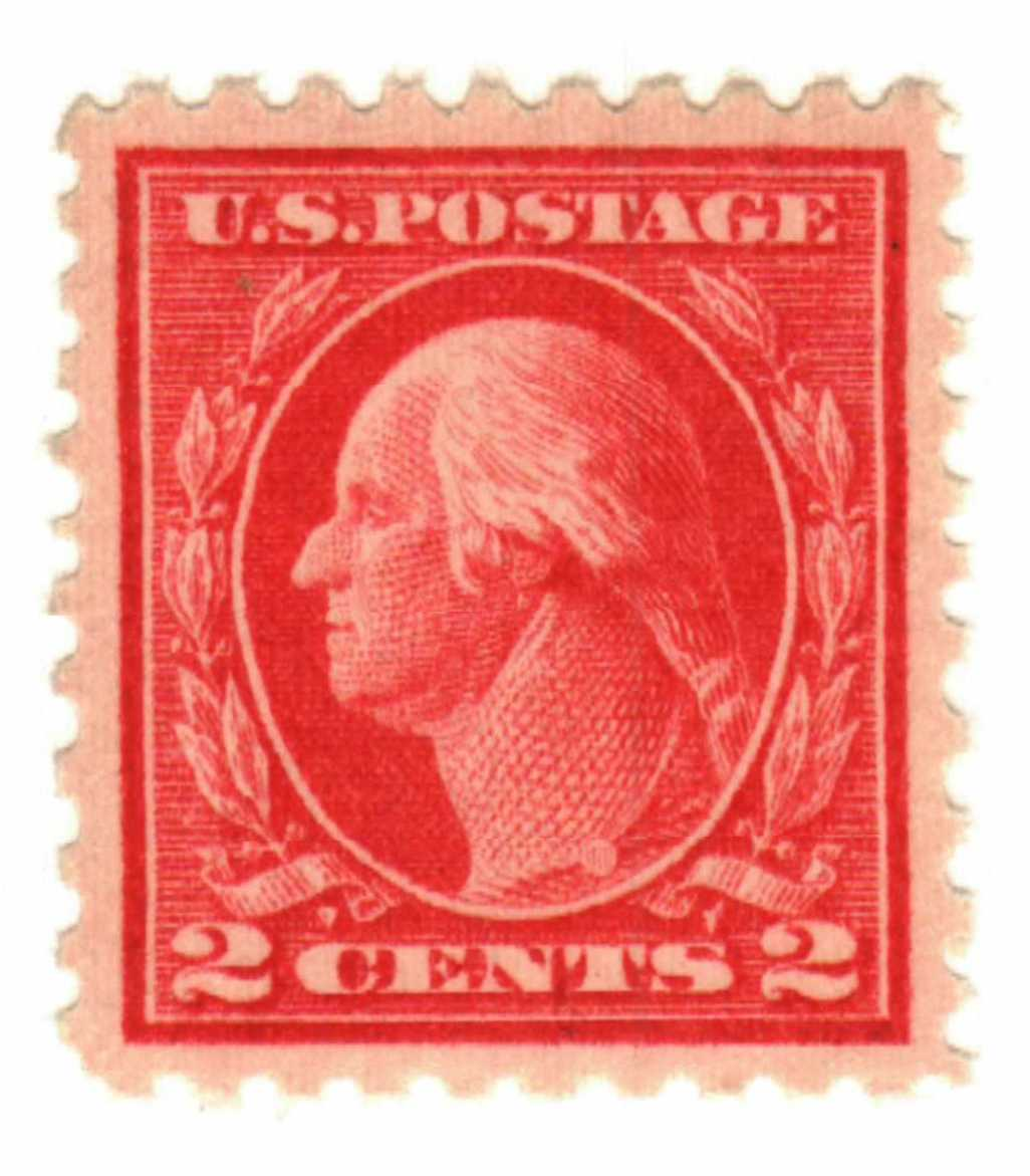 1914 2c Washington Single Line Watermark, Rose Red, Pink Back