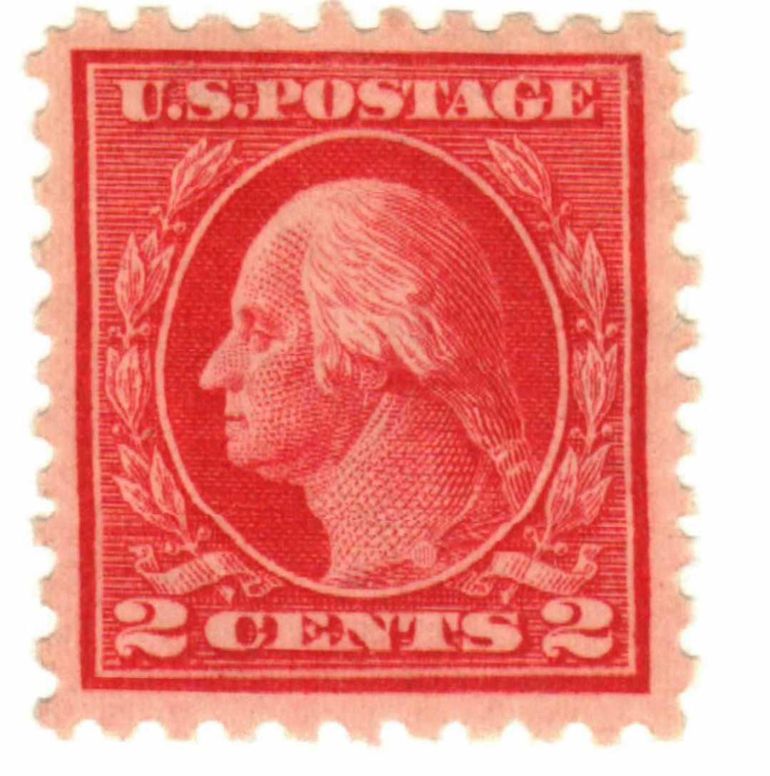 1914 2c Washington Single Line Watermark, Rose Red, Pink Back