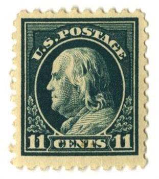 1915 11c Franklin, dark green, single line watermark