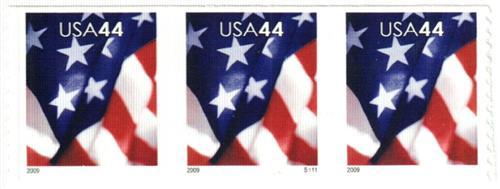 2009 44c Flag, coil, micro USPS in right corner