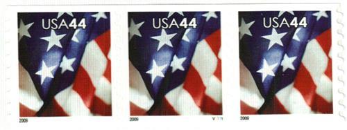 2009 44c Flag, coil, perf 8 1/2