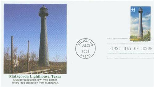 2009 44c Gulf Coast Lighthouses: Matagorda Island, Texas