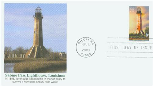 2009 44c Gulf Coast Lighthouses: Sabine Pass, Louisiana