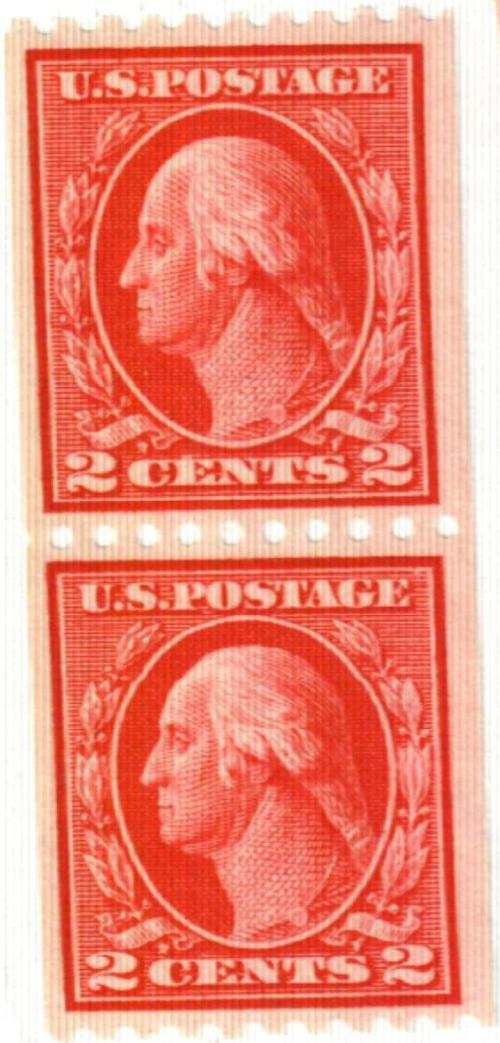 1914 2c Washington, carmine, coil