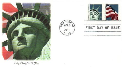 2011 First-Class Forever Stamp - Lady Liberty and U.S. Flag (ATM, booklet)