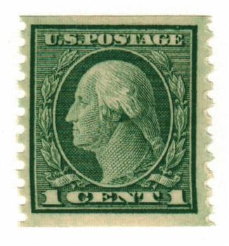1914 1c Washington, green, vertical perf 10