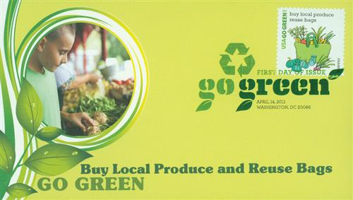 2011 First-Class Forever Stamp - Go Green: Buy Local Produce, Reuse Bags