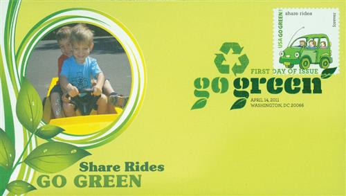 2011 First-Class Forever Stamp - Go Green: Share Rides