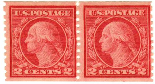 1915 2c Washington, red,  vertical perf 10