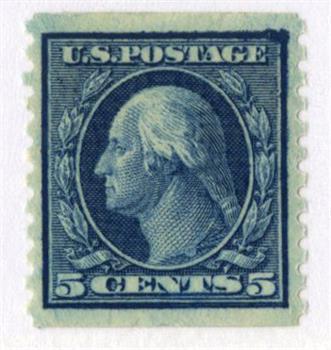 1916 5c Washington, blue, vertical perf 10