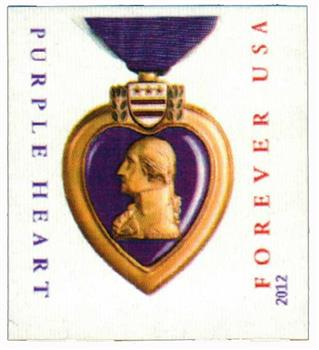 2012 First-Class Forever Stamp - Imperforate Purple Heart