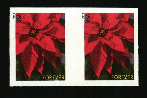 2013 First-Class Forever Stamp - Imperforate Poinsettia (Sennett Security Products)