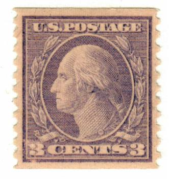 1918 3c Washington, violet, vertical perf 10, type II