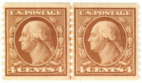 1917 4c Washington, orange brown, vertical perf 10
