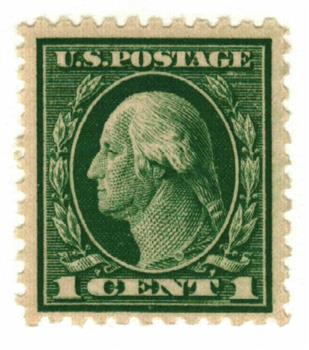 1917 1c Washington green, perf 11