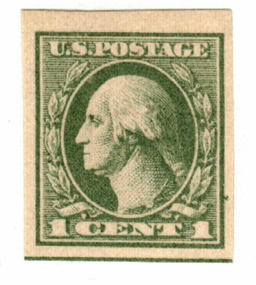 1919 1c Washington, imperforate, gray green